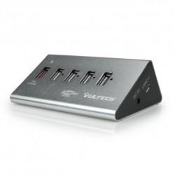 HUB in Alluminio 4 Porte USB 2.0 + 1 Porta Fast Charge ALIMENTATO